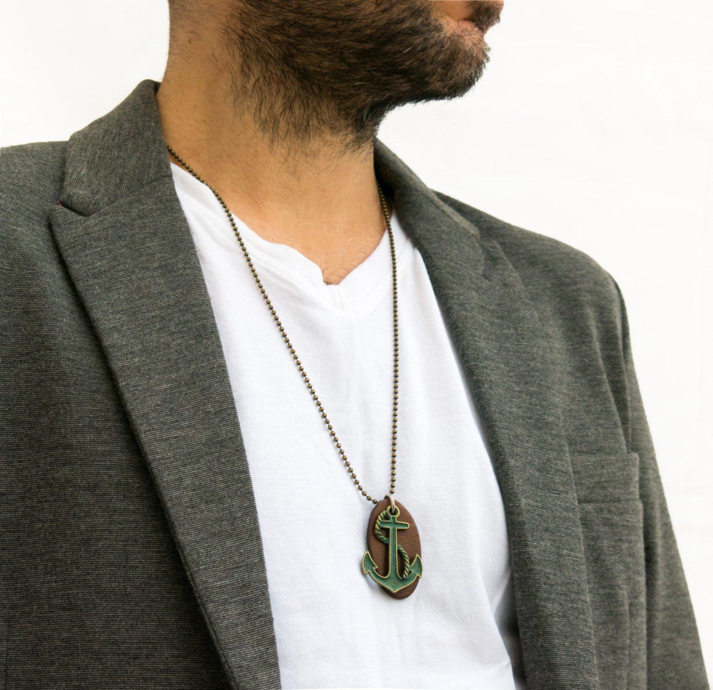 Men's Necklace - Men's Anchor Necklace - Men's Brass Necklace - Men's Leather Necklace - Men's Gift