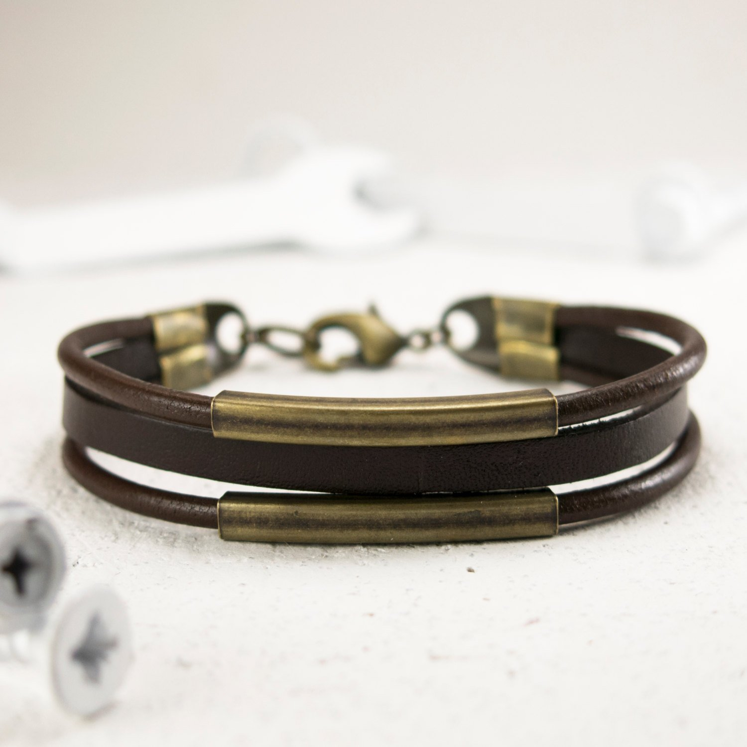 Men's Bracelet - Men's Leather Bracelet - Men's Jewelry - Men's Gift - Boyfriend Gift - Guys