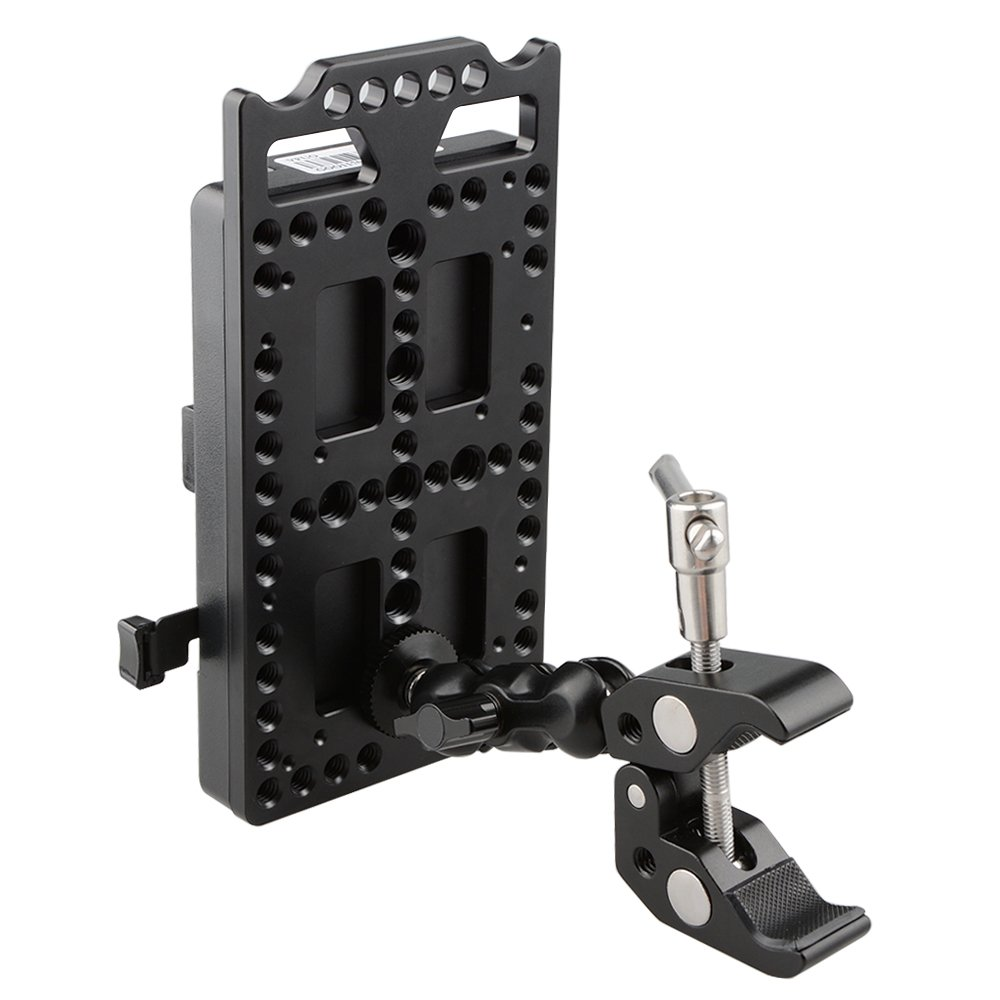 V Lock Mounting Plate Power Supply Splitter with Super Clamp Crab Pliers Clip Ball Head Mount