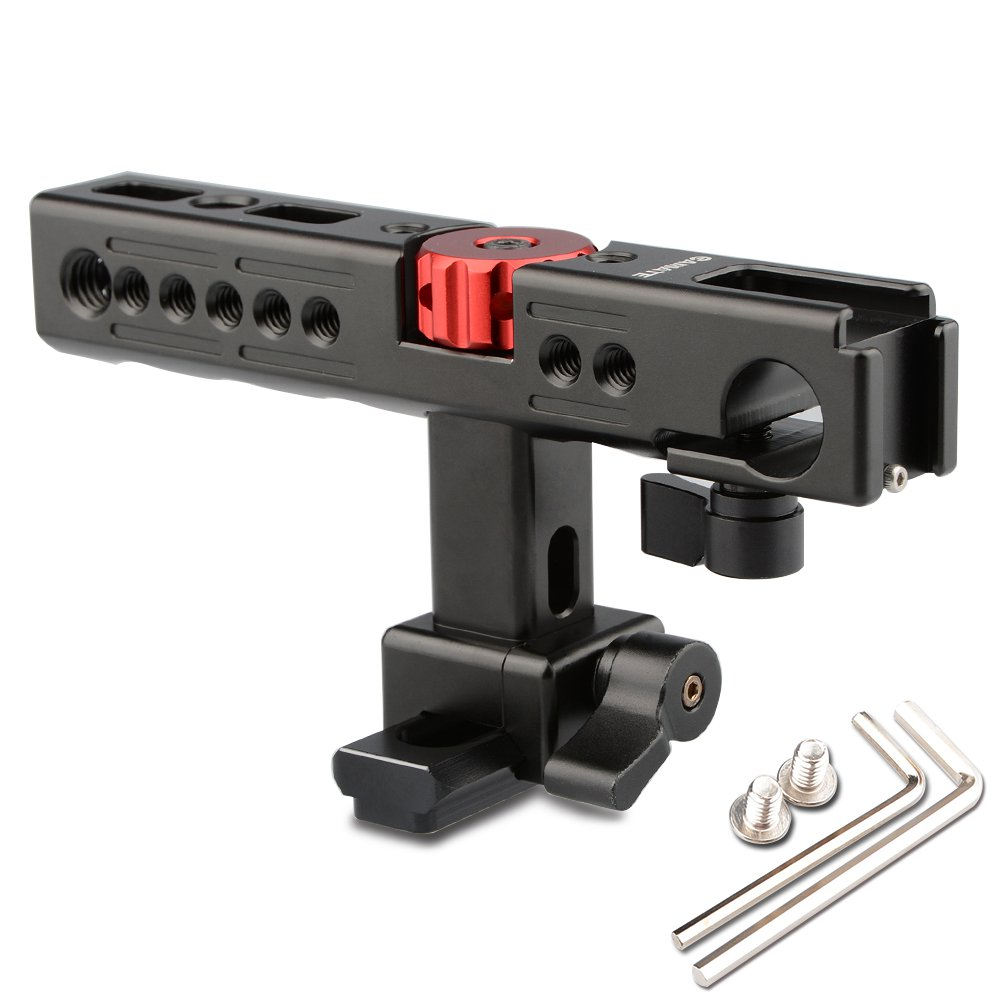 CAMVATE Nato Top Handle Kit with 15mm Rod Clamp & Shoe Mounts for Camera Cage Rig (Black)