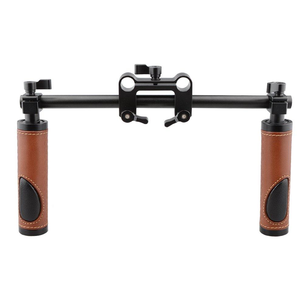 CAMVATE Handle Grips (Leather) Handlebar Support Kit for DSLR Camera Camcorder Shoulder Rig