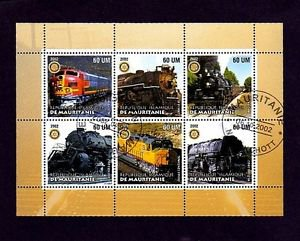 MAURITANIA - 2003 - TRAIN - LOCOMOTIVE - STEAM - DIESEL - CTO NH SHEET OF 6!