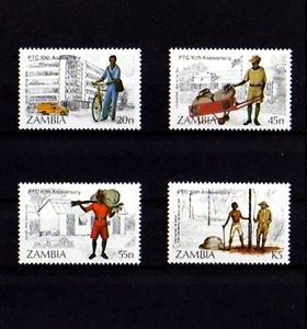 ZAMBIA - 1985 - POSTAL - TELEOMMUNICATIONS + 4 X MINT SET!
