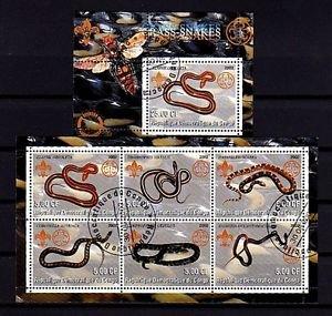 CONGO - 2002 - SNAKES - REPTILE - 2 X CTO NH S/SHEETS!