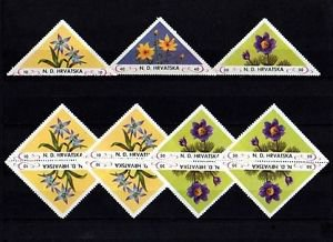 CROATIA - 1951 - FLOWERS - TRIANGLES - SINGLES & PAIRS - PERF - MINT STAMPS!