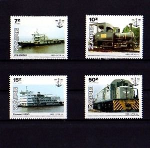 ZAIRE - 1985 - TRAINS - LOCOMOTIVES - SHIPS - TRANSPORT - 4 X MINT SET!