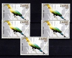 ZAIRE - 1982 - BIRD - GREEN TURACO - AFRICA - LOT OF 5 - MINT - MNH SINGLES