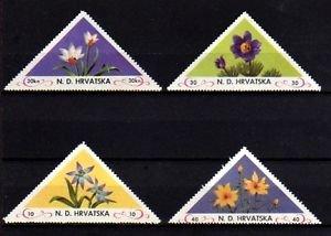 CROATIA - 1951 - FLOWERS - TRIANGLES - PERF - 4 X MINT - MNH SINGLES!