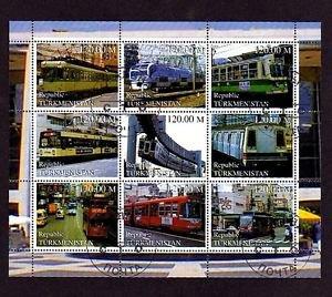 TURKMENISTAN - 2000 - TRAIN - RAILWAY - STREET CAR - TROLLEY - 9 X CTO NH SHEET!
