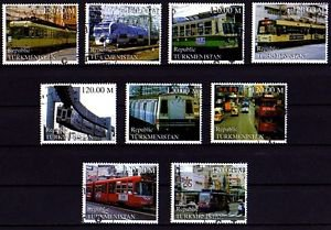 TURKMENISTAN - 2000 - TRAIN - RAILWAY - STREET CAR - TROLLEY - CTO NH SET OF 9!