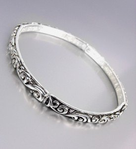 NEW Brighton Bay Silver Black Filigree Thin 4mm Stretch Stackable Bracelet