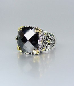 *NEW* Designer Inspired Black Onyx CZ Crystal Silver Gold Balinese Filigree Ring