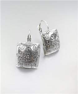 CLASSIC Brighton Bay Silver Etched Filigree Square Leverback Dangle Earrings