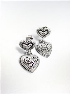 CLASSIC Petite Brighton Bay Silver Antique Filigree Heart Dangle Earrings