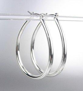 """NEW Silver Plated Metal Tear Drop 1 1/4"""" Long Hoop Earrings"""