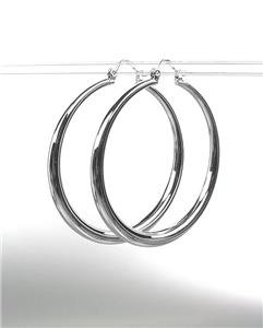 "CLASSIC Graduated SILVER Metal 1 3/4"" Round Hoop Pincatch Earrings"