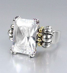 CLASSIC Silver Emerald-cut Clear Quartz CZ Crystal Glacier Ring