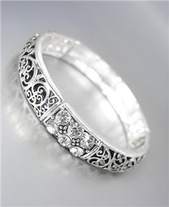 NEW Brighton Bay CZ Crystals Silver Black Filigree Links Stretch Bracelet