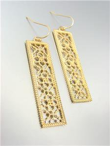 GORGEOUS Urban Anthropologie Gold Lattice Metalwork Rectangle Dangle Earrings