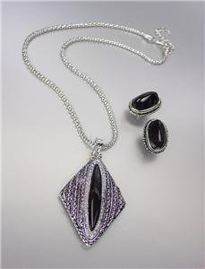 VINTAGE Antique Silver Chains CZ Crystals Black Onyx Pendant Mesh Necklace Set