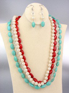 NATURAL Turquoise Coral Stones Pearls Crystals Layered Drape Necklace Set