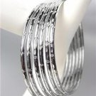 CHIC 6 PC Silver Metal Bamboo Motif Plus Size Bangle Bracelets
