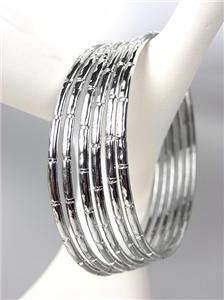 CHIC 6 PC Silver Metal Bamboo Motif Plus Size Bangle Bracelets