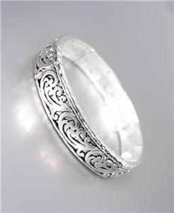 BRAND NEW CLASSIC Silver Brighton Bay Filigree Texture Stretch Bracelet