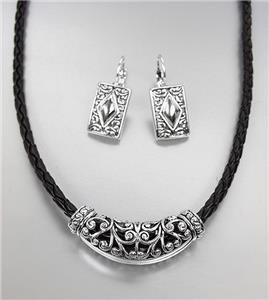 CLASSIC Brighton Bay Silver Filigree Medallion Black Cord Necklace Earrings Set