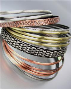 CHIC 15 PCS Antique Burnished Silver Gold Copper Metal PLUS SIZE Bangle Bracelet