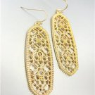GORGEOUS Urban Anthropologie Gold Lattice Metalwork Long Oval Dangle Earrings