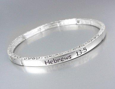Inspirational Scripture HEBREWS 13:5 Silver Stretch Stackable Bracelet