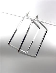 """CHIC & UNIQUE Thin SILVER Metal Square 1 3/4"""" Hoop Post Earrings"""