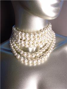 CLASSIC Graduated 6 Strands Creme Pearls Layered Choker Necklace Earrings Set