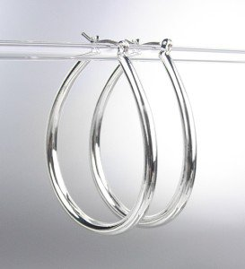 "NEW Silver Plated Metal Tear Drop 1"" Long Hoop Earrings"