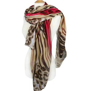EXOTIC Lightweight Silky Fuschia Brown Animal Print Fashion Scarf
