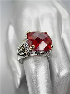 *NEW* Designer Inspired Red Garnet CZ Crystal Silver Gold Balinese Ring