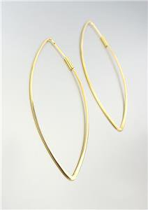 UNIQUE Lightweight Urban Anthropologie Thin Gold Oblong Oval Hoop Earrings