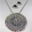 VINTAGE Antique Silver Marcasite Crystals Medallion Mesh Chain Necklace Set