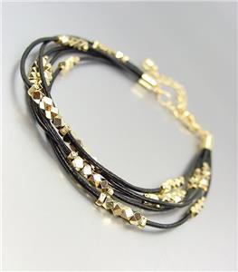 CHIC & SHIMMERY Black Leather Multi Cords Faceted Gold Beads Bracelet