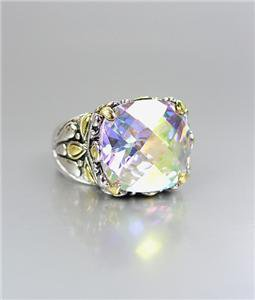 NEW Designer Inspired Iridescent Aurora AB CZ Crystal Silver Gold BALINESE Ring