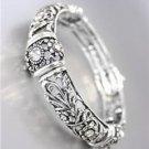NEW Brighton Bay Antique Silver Floral Filigree CZ Crystals Stretch Bracelet