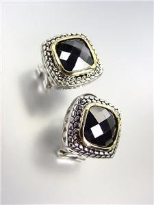 EXQUISITE Balinese Silver Wheat Cable Gold Black Onyx CZ Crystal Square Earrings
