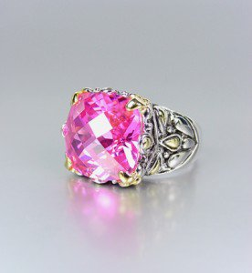 *NEW* Designer Inspired Pink Rose CZ Crystal Silver Gold Balinese Filigree Ring