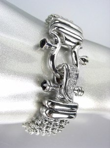 NEW Designer Inspired Silver Mesh Black Onyx CZ Pave Crystals Buckle Bracelet