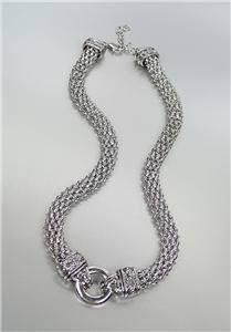 CLASSIC Brighton Bay Silver Ring Balinese Filigree Mesh Chain Necklace