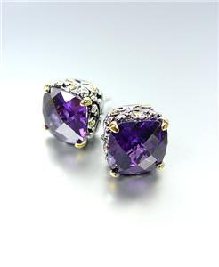 Designer PETITE Silver Gold Balinese Filigree Purple Amethyst Crystal Earrings