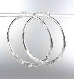 """NEW Silver Plated Metal 2 1/8"""" Flat Hoop Earrings"""