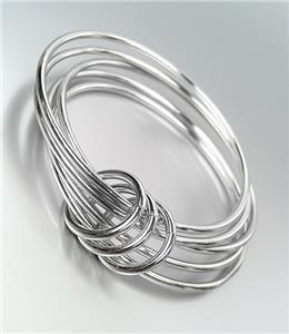 CHIC Urban Anthropologie 5 PC Silver Metal Bangle Bracelets Set
