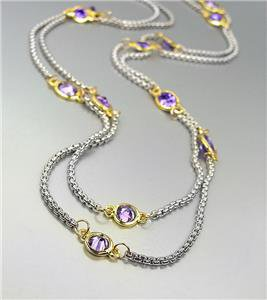 "GORGEOUS Silver Box Cable Chain Purple CZ Crystals 48"" Extra Long Necklace"